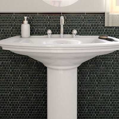 "EliteTile Sable 0.875"" x 0.875"" Glass Mosaic Tile in Black Mirror"