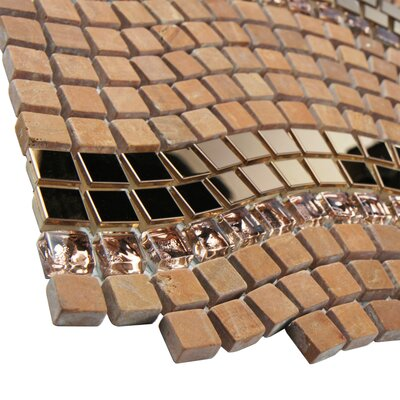 """EliteTile Sierra 0.563"""" x 0.563"""" Glass, Natural Stone and Metal Mosaic Tile in Wave Saturn"""