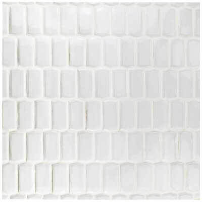 "EliteTile Greenwich 1.88"" x 3.75"" Prism Ceramic Mosaic Tile in White"