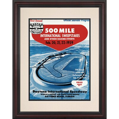Mounted Memories NASCAR Daytona 500 Program Framed Vintage Advertisement