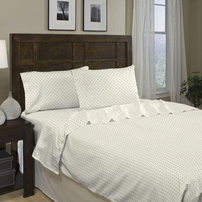 Divatex Home Fashions Printed Dot 250 Thread Count Cotton Sateen Sheet Set