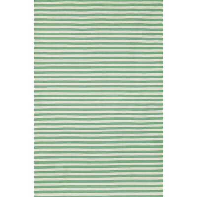 Sorrento Mini Stripe Aqua Indoor/Outdoor Area Rug by Liora Manne