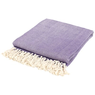 Herringbone Cotton Throw Blanket by Nine Space