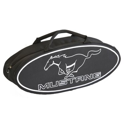 """Go Boxes LLC 25"""" Mustang Oval Shaped Canvas Bag in Black with White Lettering"""