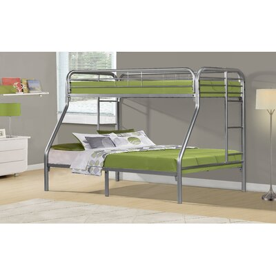 Twin Over Full Bunk Bed with Metal Ladders by Monarch Specialties Inc.