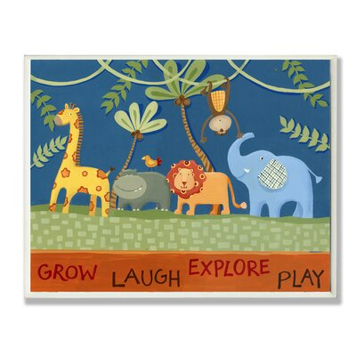 The Kids Room Grow Laugh Explore Play Jungle Animals Canvas Art by Stupell Industries