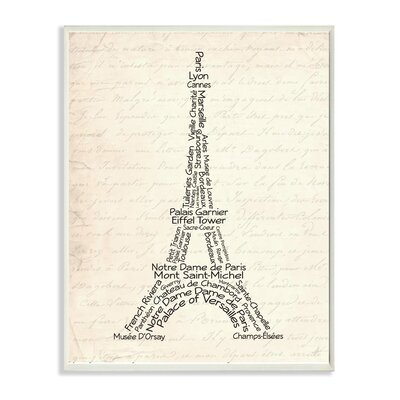 Eiffel Tower Typography Textual Art Plaque by Stupell Industries