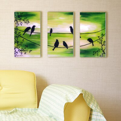 Stupell Industries Birds on a Wire Triptych 3 Piece Wall Plaque Set
