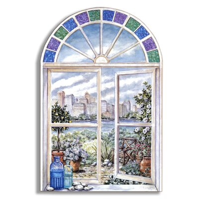Stupell Industries Stained Glass Faux Window Scene Painting Print Plaque