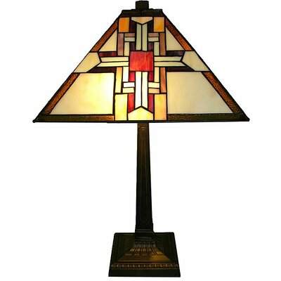 "Warehouse of Tiffany Cross 22"" H Table Lamp with Empire Shade"