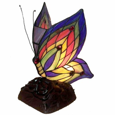 """Warehouse of Tiffany Butterfly Accent 10"""" H Table Lamp with Novelty Shade"""