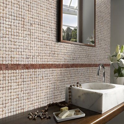 Cocomosaic Coconut Mosaic Tile in White Patina