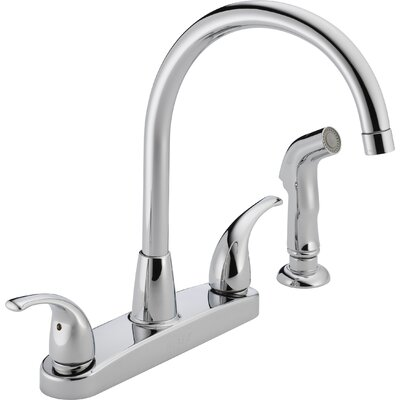 "Peerless Faucets 3.75"" Two Handle Centerset Kitchen Faucet with Sink Spray"