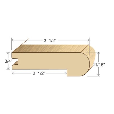 "Moldings Online 0.69"" x 3.5"" x 96"" Tigerwood Stair Nose"