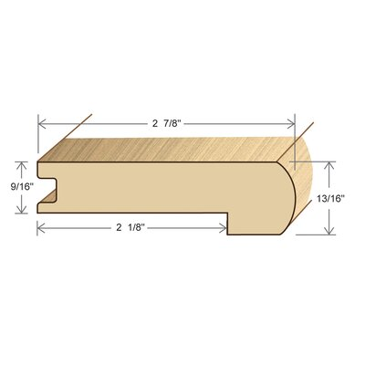 """Moldings Online 0.56"""" x 2.88"""" x 78"""" Red Oak Stair Nose"""