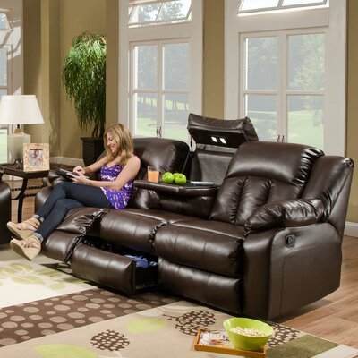 Sebring Leather Double Motion Sofa by Simmons Upholstery