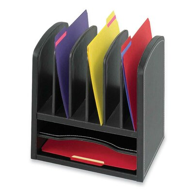 Safco Products Company Two Shelf Organizer with Six Slots in Black