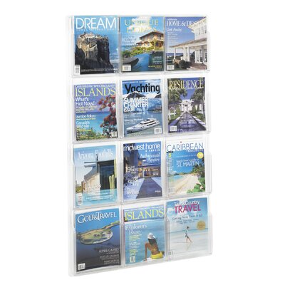 """Safco Products Company Reveal Clear Literature Displays, 12 Compartments, 49"""" High"""