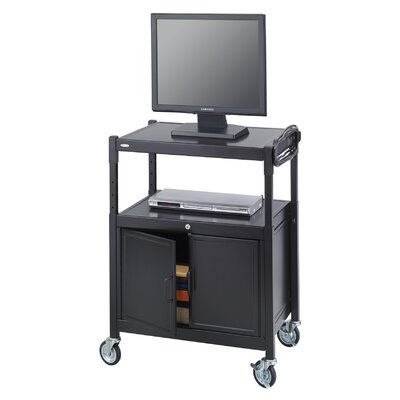 Safco Products Company Adjustable Mobile AV Cart with Locking Cabinet