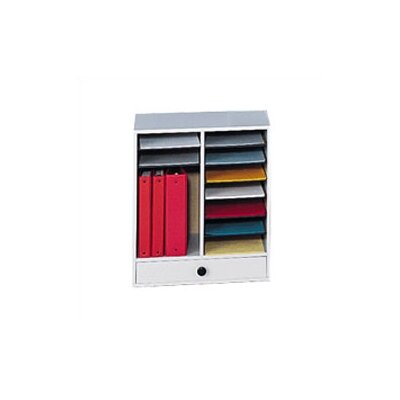 Safco Products Company Small Wood Adjustable-Compartment Literature Organizer with Drawers