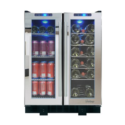 Mirrored 36 Bottle Single Zone Built-In Wine Refrigerator by Vinotemp