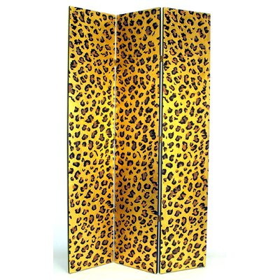 "Wayborn 78"" x 48"" Cheetah Print 3 Panel Room Divider"