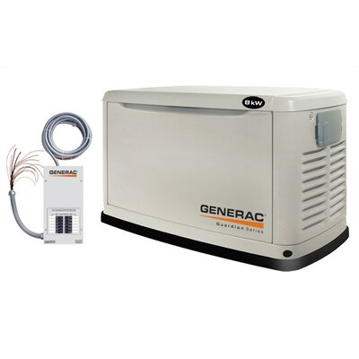 Guardian 8 Kw Air-Cooled Single Phase 120/240 V Natural Gas Propane Standby Generator with ...