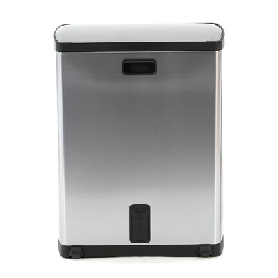 simplehuman 12.5 Gallon Step-On Trash Can Recycler in Stainless Steel