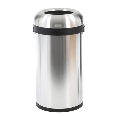 simplehuman 15.9 Gallon Bullet Open Trash Can in Stainless Steel