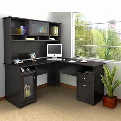 Bush Furniture Cabot L-Shaped Computer Desk with Hutch