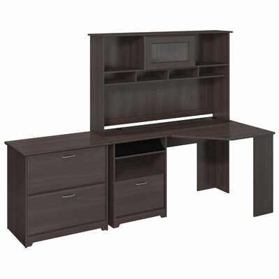Cabot Corner Desk with Hutch and Lateral File by Bush Industries
