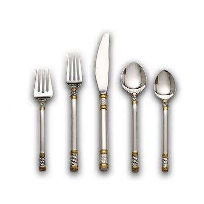 Wallace Sterling Silver Aegean Weave Gold Accent 5 Piece Flatware Set