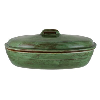 3.75-quart Cilantro Green Stoneware Roaster with Lid by French Home