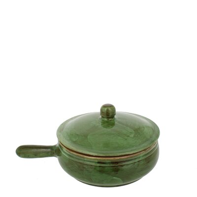 1.25-quart Cilantro Green Stoneware Long Handled Pan With Lid by French Home