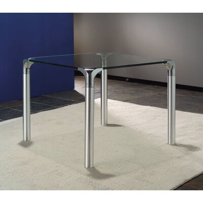 Creative Images International Glass Top End Table With Chrome Base