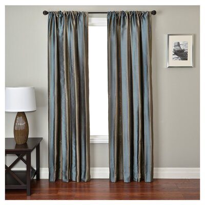 Softline Home Fashions Ariel Batik Curtain Panel in Chocolate / French Blue