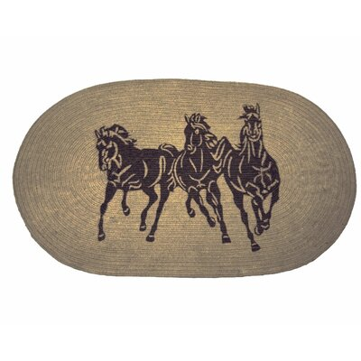3 Horse Jute Light Chocolate Area Rug by HiEnd Accents