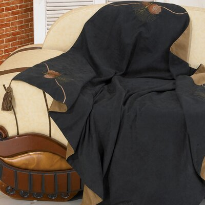 Black Pine Reversible Pine Cone Throw by HiEnd Accents