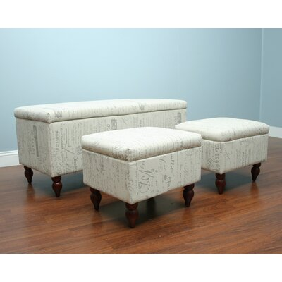 3 Piece Upholstered Storage Entryway Bench Set by AC Pacific