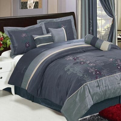 Shades of Floral Embroidered 7 Piece Comforter Set by LaCozee