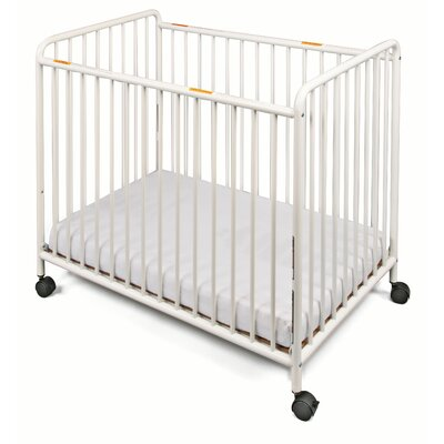 Chelsea Slatted Compact Steel Non-Folding Convertible Crib with Mattress by Foundations