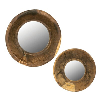 2 Piece Round Mirror with Wood Bowl Frame Set by Creative Co-Op