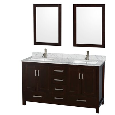"""Sheffield 60"""" Double Bathroom Vanity Set with Mirror Product Photo"""