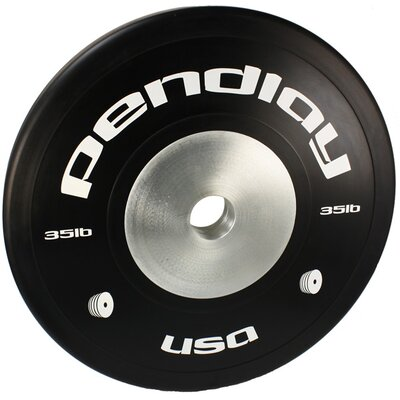 Pendlay 35 lb Elite Black Bumper Plates in White Ink