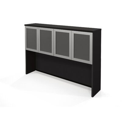 Bestar Pro-Concept Hutch with frosted glass doors in Black