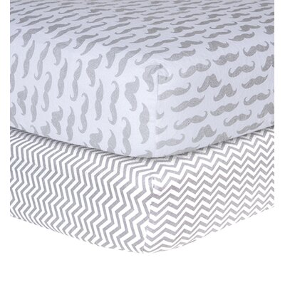 Mustache and Chevron Print Flannel 2 Piece Crib Sheet Set by Trend Lab