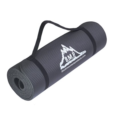 """Black Mountain Products 0.5"""" Yoga Mat & Carrying Strap"""