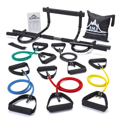 Black Mountain Products Chin Pull Up Bar and Resistance Band 6 Piece Set