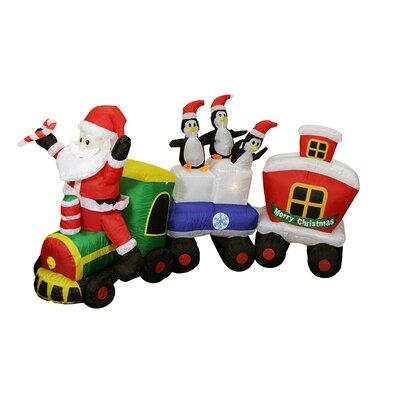 Inflatable Santa Claus Train Lighted Christmas Yard Art Decor by LB International