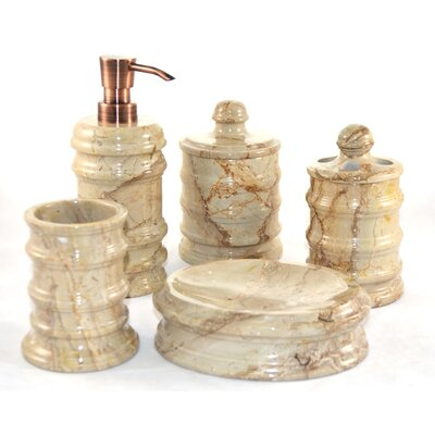 Bengal 5 piece sahara beige marble bathroom accessory set for Beige bathroom set